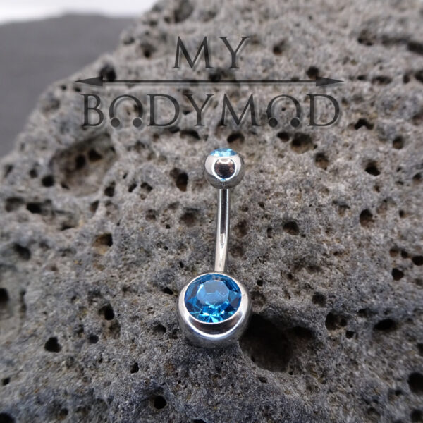 Bauchnabelpiercing Piercing Crystal Banane (aquamarine) my-bodymod